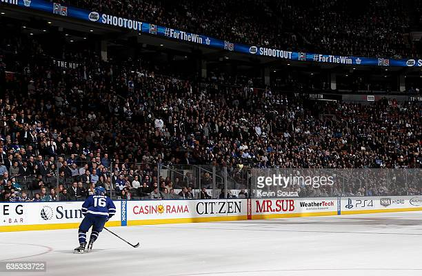 Mitchell Marner of the Toronto Maple Leafs sets to take a penalty shot against the San Jose Sharks during a shootout at the Air Canada Centre on...