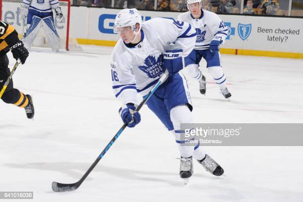 Mitchell Marner of the Toronto Maple Leafs skates against the Boston Bruins at the TD Garden on February 4 2017 in Boston Massachusetts