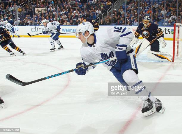 Mitchell Marner of the Toronto Maple Leafs skates against the Buffalo Sabres during an NHL game at the KeyBank Center on April 3 2017 in Buffalo New...