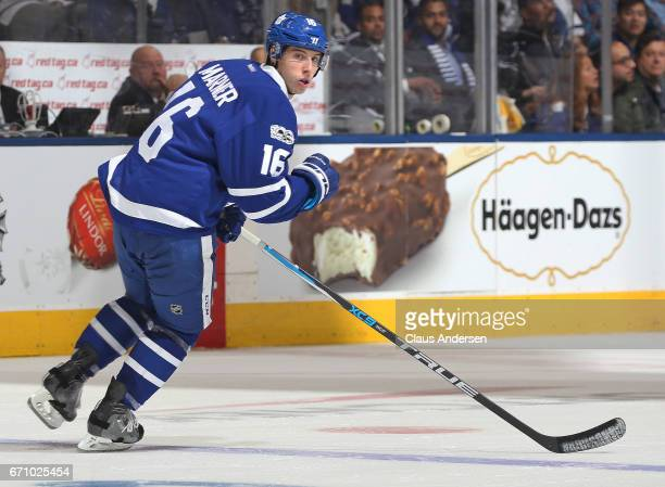 Mitchell Marner of the Toronto Maple Leafs skates against the Washington Capitals in Game Four of the Eastern Conference Quarterfinals during the...