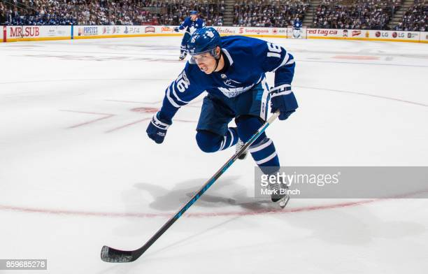 Mitchell Marner of the Toronto Maple Leafs skates against the New York Rangers during the first period October 7 2017 at the Air Canada Centre in...