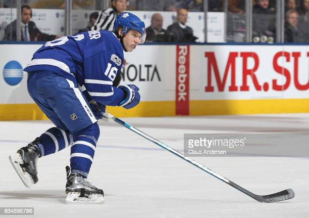 Mitchell Marner of the Toronto Maple Leafs skates against the St Louis Blues during an NHL game at the Air Canada Centre on February 9 2017 in...