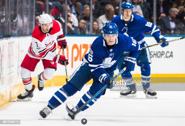 Mitchell Marner of the Toronto Maple Leafs skates against the Carolina Hurricanes during the first period at the Air Canada Centre on October 26 2017...