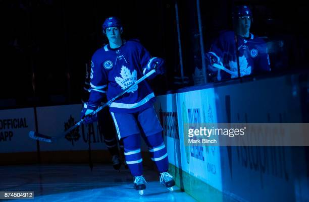 Mitchell Marner of the Toronto Maple Leafs skates during introdcutions prior to the game against the Boston Bruins at the Air Canada Centre on...