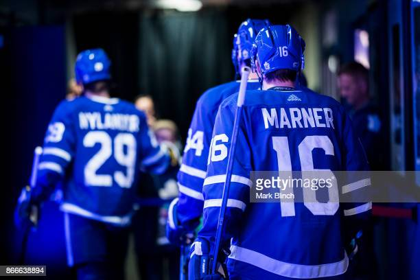Mitchell Marner of the Toronto Maple Leafs walks to the ice for warm up before playing the Los Angeles Kings at the Air Canada Centre on October 23...