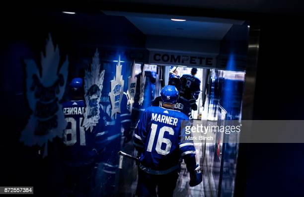 Mitchell Marner of the Toronto Maple Leafs walks to the ice for warm up before playing the Minnesota Wild at the Air Canada Centre on November 8 2017...