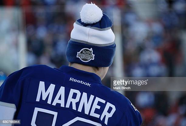 Mitchell Marner of the Toronto Maple Leafs wears a toque during warmup prior to the 2017 Scotiabank NHL Centennial Classic game against the Detroit...