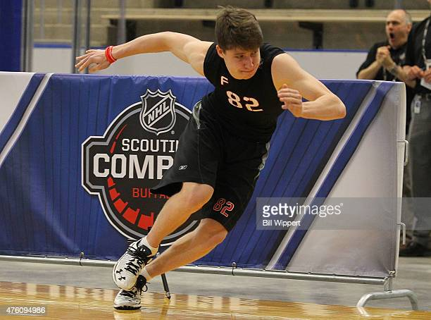 Mitchell Marner performs an agility test during the NHL Combine at HarborCenter on June 6 2015 in Buffalo New York