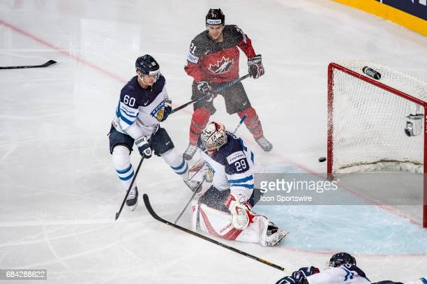 Mitchell Marner scores a goal against Goalie Harri Sateri during the Ice Hockey World Championship between Canada and Finland at AccorHotels Arena in...