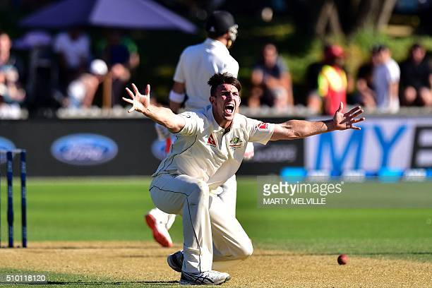 Mitchell Marsh of Australia appeals for a LBW call on Brendon McCullum captain of New Zealand during day three of the first cricket Test match...