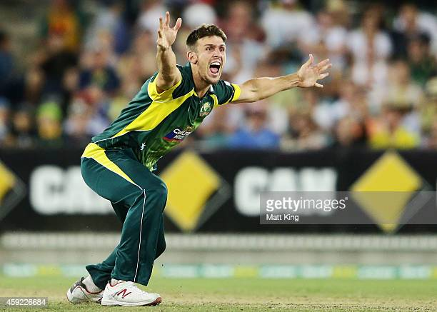 Mitchell Marsh of Australia appeals unsuccessfully for the wicket of AB de Villiers of South Africa during game three of the One Day International...