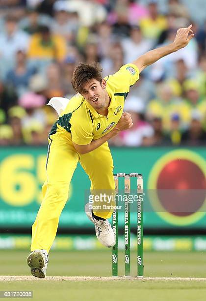 Mitchell Marsh of Australia bowls during game two of the One Day International series between Australia and Pakistan at Melbourne Cricket Ground on...