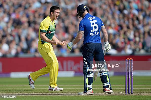 Mitchell Marsh of Australia celebrates dismissing Ben Stokes of England during the 5th Royal London OneDay International match between England and...