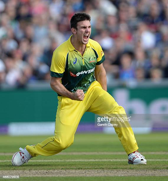 Mitchell Marsh of Australia celebrates dismissing David Willey of England during the 5th Royal London OneDay International match between England and...