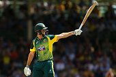 Mitchell Marsh of Australia celebrates his half century during the final match of the Carlton Mid One Day International series between Australia and...