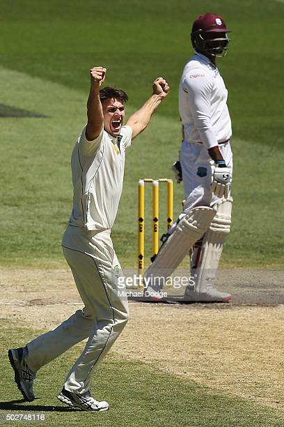 Mitchell Marsh of Australia celebrates his wicket of Marlon Samuels of the West Indies during day four of the Second Test match between Australia and...