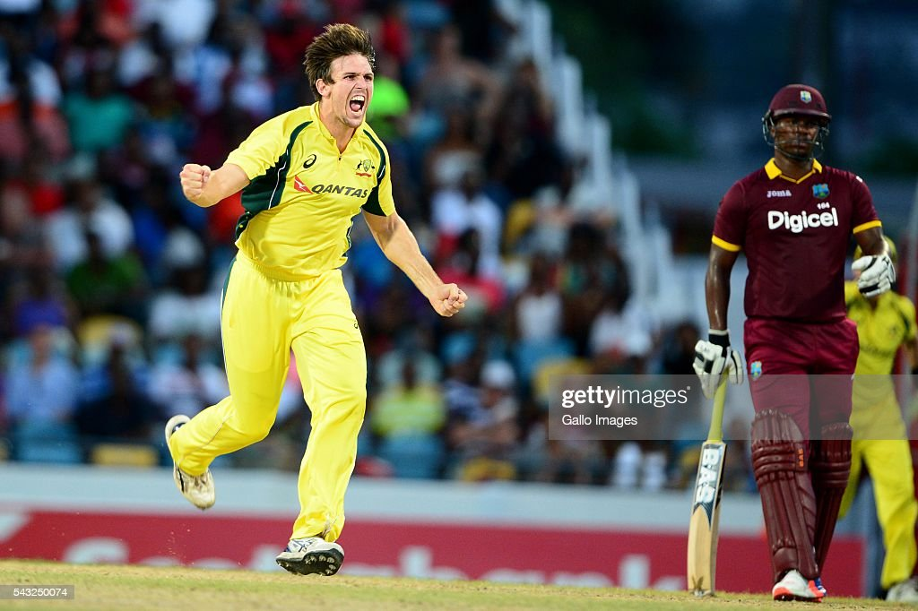 <a gi-track='captionPersonalityLinkClicked' href=/galleries/search?phrase=Mitchell+Marsh&family=editorial&specificpeople=5805683 ng-click='$event.stopPropagation()'>Mitchell Marsh</a> of Australia celebrates the wicket of Darren Bravo of the West Indies during the Tri-Nation Series One-day International (ODI) Final between West Indies and Australia at the Kensington Oval on June 26, 2016 in in Bridgetown, Barbados.