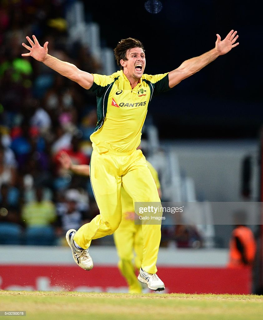 <a gi-track='captionPersonalityLinkClicked' href=/galleries/search?phrase=Mitchell+Marsh&family=editorial&specificpeople=5805683 ng-click='$event.stopPropagation()'>Mitchell Marsh</a> of Australia celebrates the wicket of Johnson Charles of the West Indies during the Tri-Nation Series One-day International (ODI) Final between West Indies and Australia at the Kensington Oval on June 26, 2016 in in Bridgetown, Barbados.