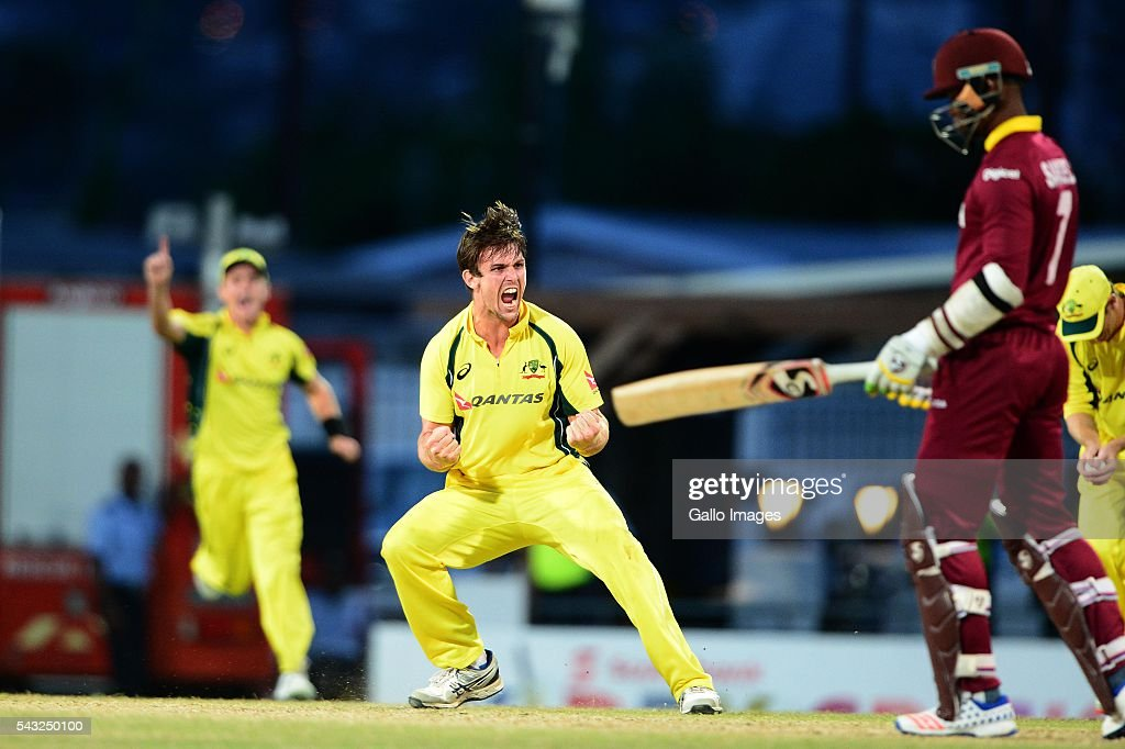 <a gi-track='captionPersonalityLinkClicked' href=/galleries/search?phrase=Mitchell+Marsh&family=editorial&specificpeople=5805683 ng-click='$event.stopPropagation()'>Mitchell Marsh</a> of Australia celebrates the wicket of Marlon Samuels of the West Indies during the Tri-Nation Series One-day International (ODI) Final between West Indies and Australia at the Kensington Oval on June 26, 2016 in in Bridgetown, Barbados.