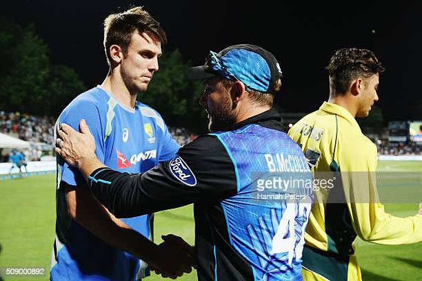 Mitchell Marsh of Australia congratulates Brendon McCullum of the Black Caps after losing the 3rd One Day International cricket match between the New...