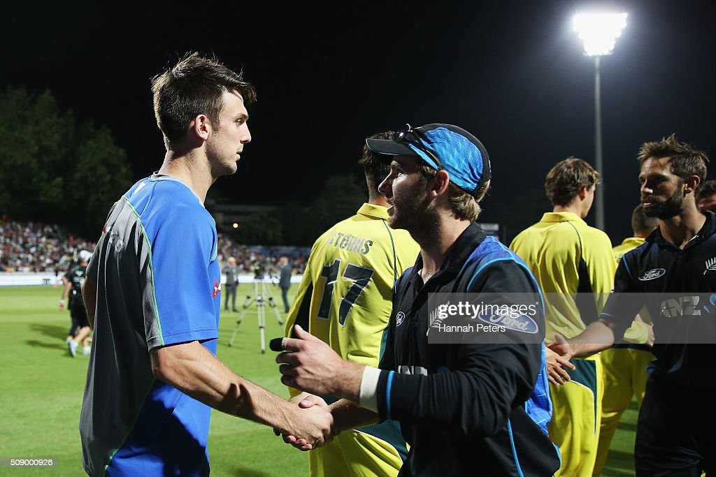 <a gi-track='captionPersonalityLinkClicked' href=/galleries/search?phrase=Mitchell+Marsh&family=editorial&specificpeople=5805683 ng-click='$event.stopPropagation()'>Mitchell Marsh</a> of Australia congratulates <a gi-track='captionPersonalityLinkClicked' href=/galleries/search?phrase=Kane+Williamson&family=editorial&specificpeople=4738503 ng-click='$event.stopPropagation()'>Kane Williamson</a> of the Black Caps after losing the 3rd One Day International cricket match between the New Zealand Black Caps and Australia at Seddon Park on February 8, 2016 in Hamilton, New Zealand.