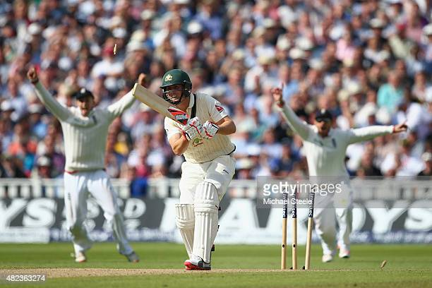 Mitchell Marsh of Australia is bowled by Steven Finn during day two of the 3rd Investec Ashes Test match between England and Australia at Edgbaston...