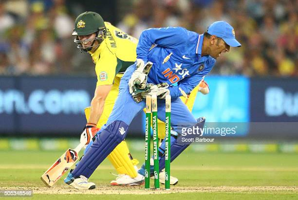 Mitchell Marsh of Australia is run out by MS Dhoni of India during game three of the One Day International Series between Australia and India at the...