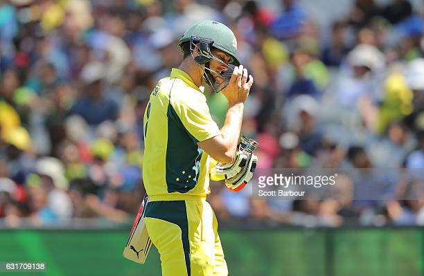 Mitchell Marsh of Australia leaves the field after being dismissed during game two of the One Day International series between Australia and Pakistan...