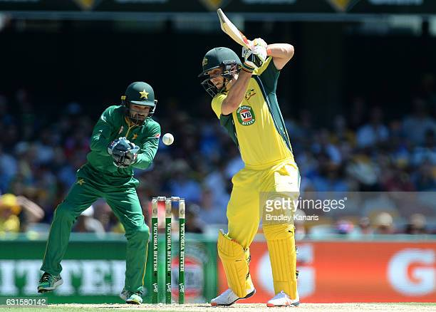 Mitchell Marsh of Australia plays a shot during game one of the One Day International series between Australia and Pakistan at The Gabba on January...