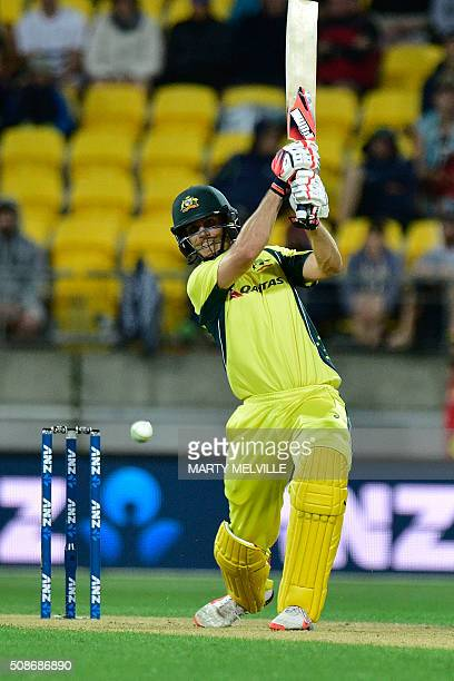 Mitchell Marsh of Australia plays a shot during the second oneday international cricket match between New Zealand and Australia at Westpac Stadium in...