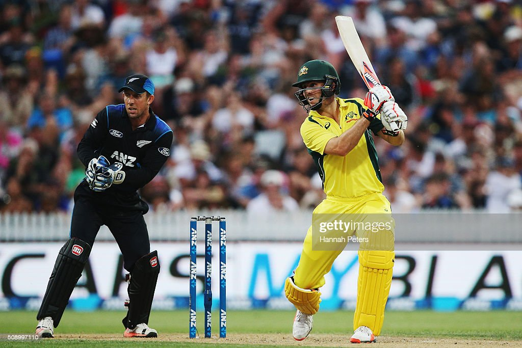 <a gi-track='captionPersonalityLinkClicked' href=/galleries/search?phrase=Mitchell+Marsh&family=editorial&specificpeople=5805683 ng-click='$event.stopPropagation()'>Mitchell Marsh</a> of Australia plays the ball away for four runs during the 3rd One Day International cricket match between the New Zealand Black Caps and Australia at Seddon Park on February 8, 2016 in Hamilton, New Zealand.