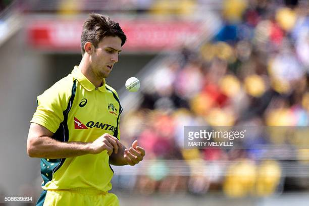 Mitchell Marsh of Australia prepares to bowl during the 2nd oneday international cricket match between New Zealand and Australia at Westpac Stadium...