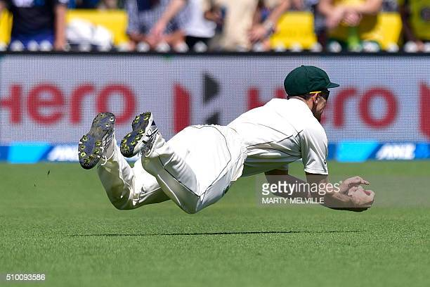 Mitchell Marsh of Australia takes the catch of New Zealand's Martin Guptill during day three of the first cricket Test match between New Zealand and...