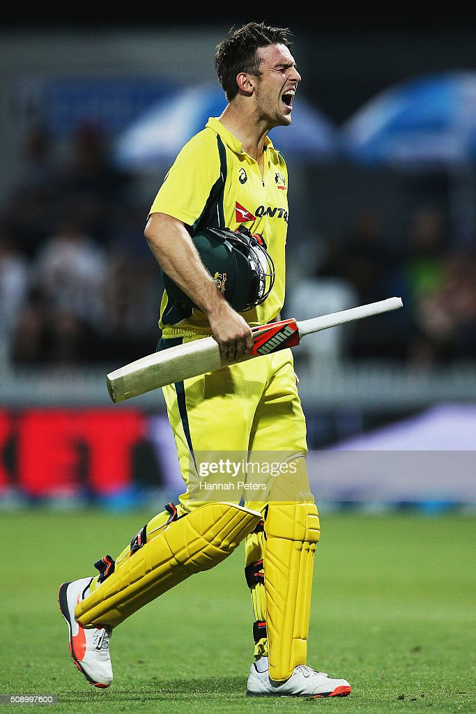<a gi-track='captionPersonalityLinkClicked' href=/galleries/search?phrase=Mitchell+Marsh&family=editorial&specificpeople=5805683 ng-click='$event.stopPropagation()'>Mitchell Marsh</a> of Australia walks off after being dismissed by Matt Henry of the Black Caps during the 3rd One Day International cricket match between the New Zealand Black Caps and Australia at Seddon Park on February 8, 2016 in Hamilton, New Zealand.