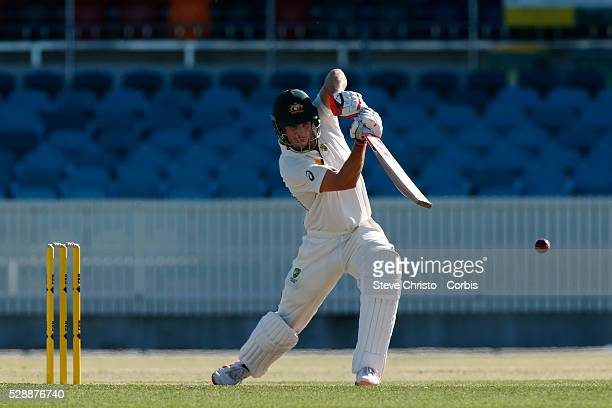 Mitchell Marsh of Cricket Australia's XI batting against New Zealand in their cricket tour match in Canberra Australia Saturday Oct 24 2015