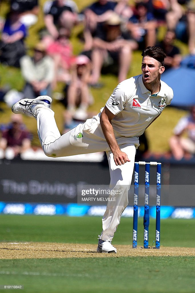 Mitchell Marsh of New Zealand bowls during day three of the first cricket Test match between New Zealand and Australia at the Basin Reserve in Wellington on February 14, 2016. AFP PHOTO / MARTY MELVILLE / AFP / Marty Melville