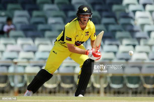 Mitchell Marsh of the Warriors bats during the JLT One Day Cup match between Victoria and Western Australia at WACA on October 1 2017 in Perth...