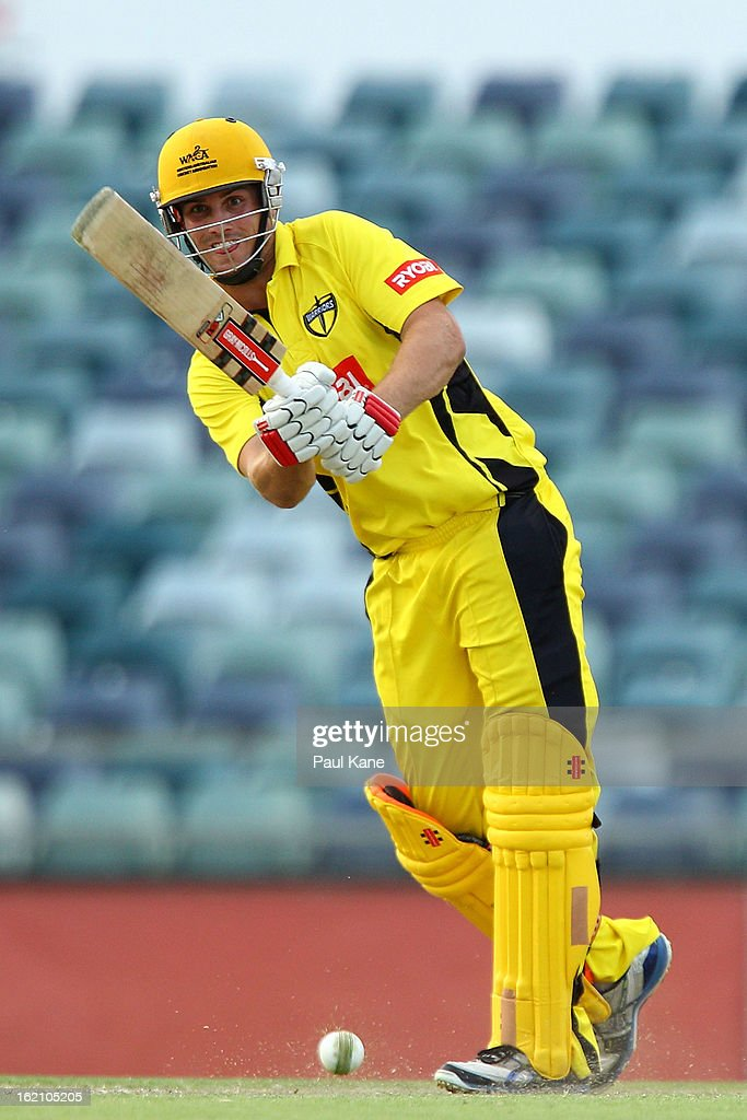 Mitchell Marsh of the Warriors bats during the Ryobi One Day Cup match between the Western Australia Warriors and the Tasmanian Tigers at the WACA on February 19, 2013 in Perth, Australia.