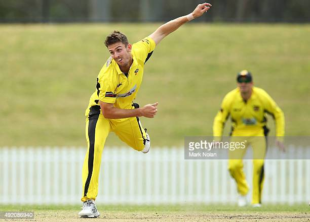 Mitchell Marsh of the Warriors bowls during the Matador BBQs One Day Cup match between New South Wales and Western Australia at Blacktown...