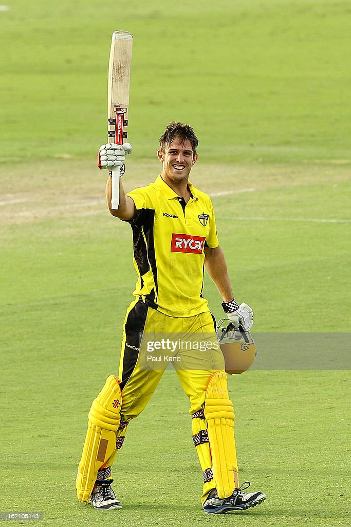 Mitchell Marsh of the Warriors celebrates his century during the Ryobi One Day Cup match between the Western Australia Warriors and the Tasmanian Tigers at the WACA on February 19, 2013 in Perth, Australia.
