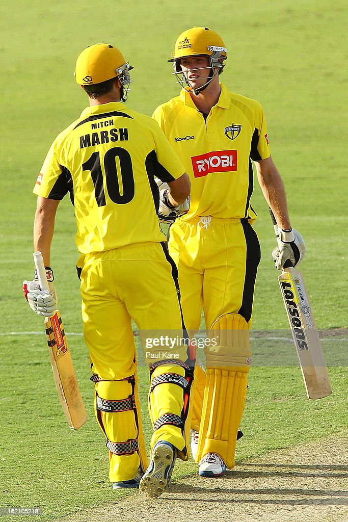 Mitchell Marsh of the Warriors congratulates Ashton Turner after scoring his half century during the Ryobi One Day Cup match between the Western Australia Warriors and the Tasmanian Tigers at the WACA on February 19, 2013 in Perth, Australia.