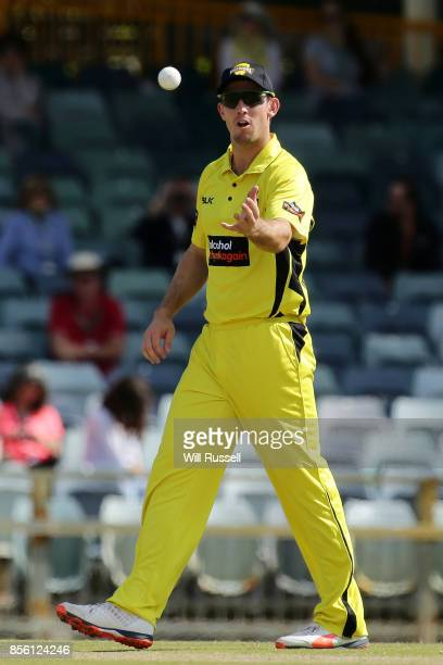Mitchell Marsh of the Warriors fields during the JLT One Day Cup match between Victoria and Western Australia at WACA on October 1 2017 in Perth...