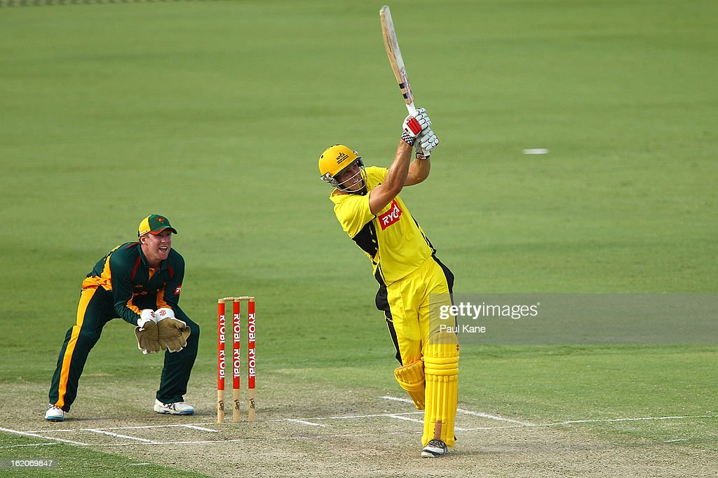 Mitchell Marsh of the Warriors hits a six onto the roof of the players pavillion during the Ryobi One Day Cup match between the Western Australia Warriors and the Tasmanian Tigers at the WACA on February 19, 2013 in Perth, Australia.