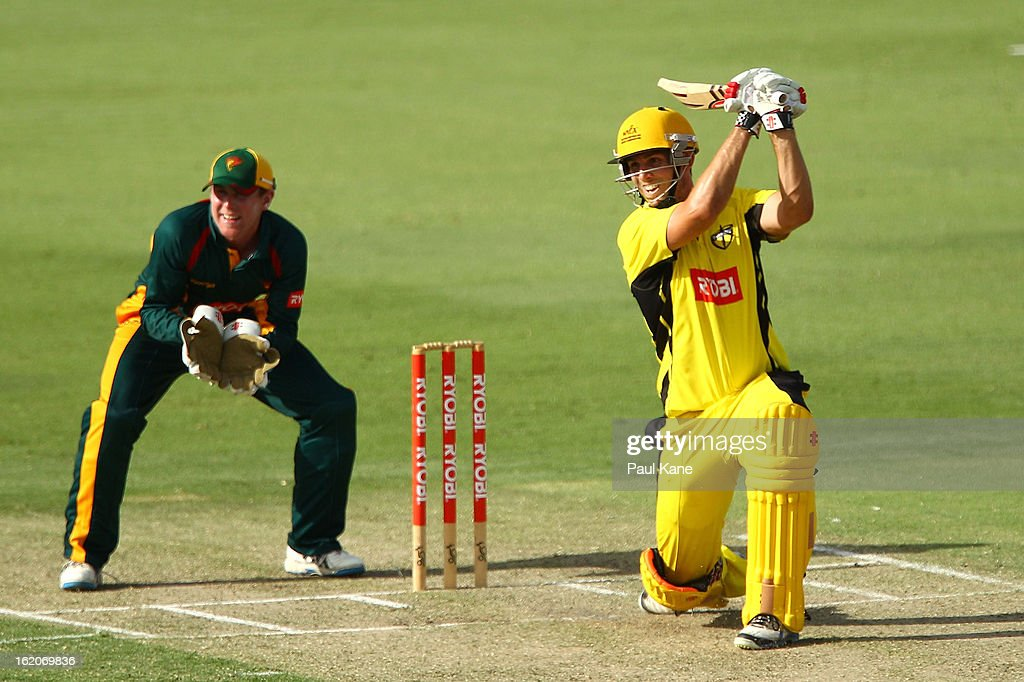 Mitchell Marsh of the Warriors hits out during the Ryobi One Day Cup match between the Western Australia Warriors and the Tasmanian Tigers at the WACA on February 19, 2013 in Perth, Australia.