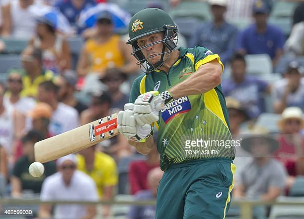 Mitchell Marsh plays a pull shot to the boundary during the triseries oneday cricket final between England and Australia at the WACA in Perth on...