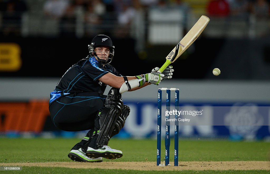 Mitchell McClenaghan of New Zealand bats during the 1st T20 International between New Zealand and England at Eden Park on February 9, 2013 in Auckland, New Zealand.