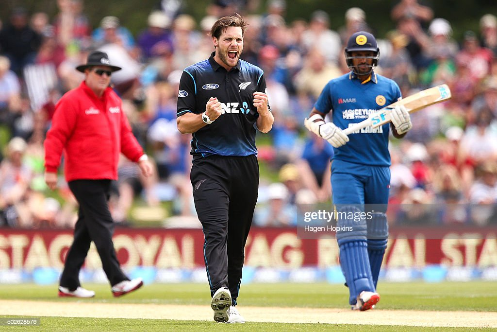 <a gi-track='captionPersonalityLinkClicked' href=/galleries/search?phrase=Mitchell+McClenaghan&family=editorial&specificpeople=4662941 ng-click='$event.stopPropagation()'>Mitchell McClenaghan</a> of New Zealand celebrates after taking the wicket of <a gi-track='captionPersonalityLinkClicked' href=/galleries/search?phrase=Lahiru+Thirimanne&family=editorial&specificpeople=5946377 ng-click='$event.stopPropagation()'>Lahiru Thirimanne</a> during the second One Day International game between New Zealand and Sri Lanka at Hagley Oval on December 28, 2015 in Christchurch, New Zealand.