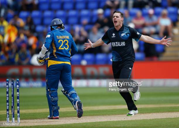 Mitchell McClenaghan of New Zealand celebrates bowling Tillakaratne Dilshan of Sri Lanka during the ICC Champions Trophy group A match between Sri...