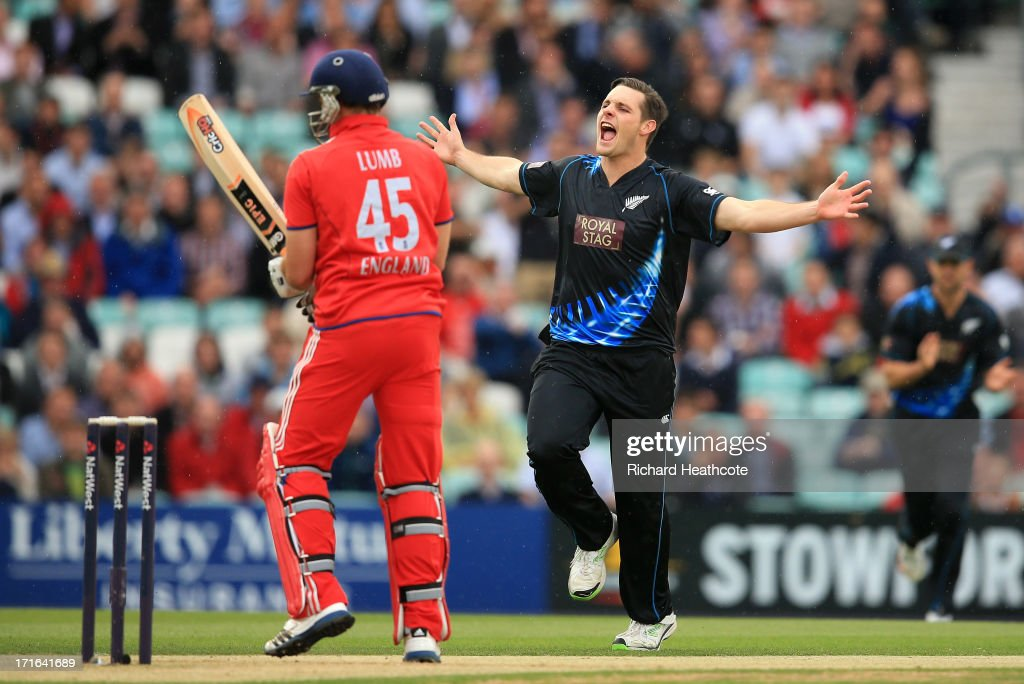 Mitchell McClenaghan of New Zealand celebrates taking the wicket of Michael Lumb of England during the 2nd Natwest International T20 match between England and New Zealand at The Kia Oval on June 27, 2013 in London, England.