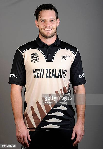 Mitchell McClenaghan of New Zealand poses during the official photocall for the ICC Twenty20 World on March 8 2016 in Mumbai India